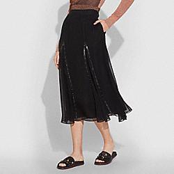 COACH 26229 Prairie Rivets Long Skirt BLACK