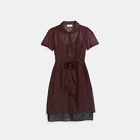 COACH 26233 STAR PRINT SHIRT DRESS BURGUNDY