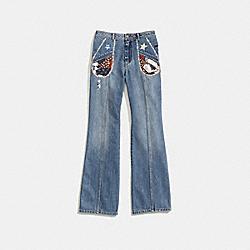 COACH 26238 Patchwork Denim Pants BLUE