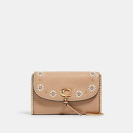 COACH 2626 REMI CHAIN CROSSBODY WITH WHIPSTITCH DAISY APPLIQUE IM/TAUPE