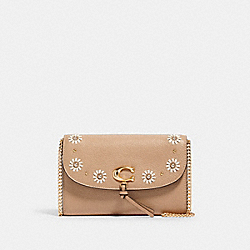 REMI CHAIN CROSSBODY WITH WHIPSTITCH DAISY APPLIQUE - 2626 - IM/TAUPE