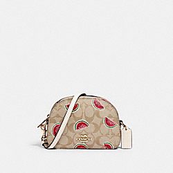 MINI SERENA CROSSBODY IN SIGNATURE CANVAS WITH WATERMELON PRINT - 2627 - IM/LT KHAKI/RED MULTI