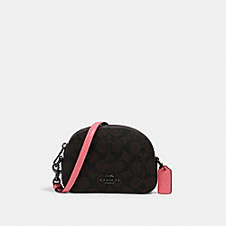 MINI SERENA CROSSBODY IN SIGNATURE CANVAS - 2628 - QB/BROWN PINK LEMONADE