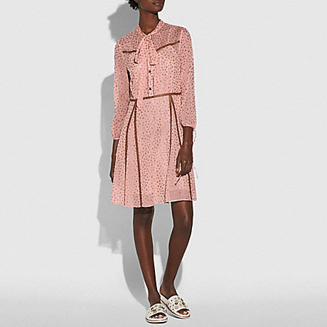 COACH 26319 STAR PRINT BUTTON UP DRESS PINK