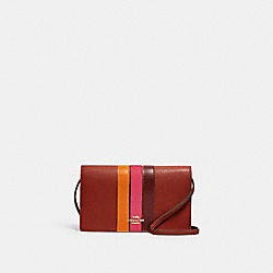 ANNA FOLDOVER CROSSBODY CLUTCH WITH VARSITY STRIPE - 2632 - IM/TERRACOTTA/ELCTRC PNK MULTI
