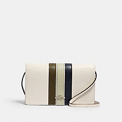 ANNA FOLDOVER CROSSBODY CLUTCH WITH VARSITY STRIPE - 2632 - SV/CHALK PALE GREEN MULTI