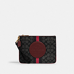 DEMPSEY GALLERY POUCH IN SIGNATURE JACQUARD WITH STRIPE AND COACH PATCH - 2633 - IM/BLACK WINE MULTI
