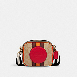 COACH 2635 Mini Dempsey Camera Bag In Signature Jacquard With Stripe And Coach Patch IM/LT KHAKI ELECTRIC PINK
