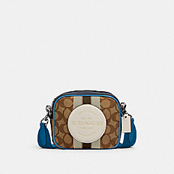 MINI DEMPSEY CAMERA BAG IN SIGNATURE JACQUARD WITH STRIPE AND COACH PATCH - 2635 - SV/KHAKI CLK PALE GREEN MULTI