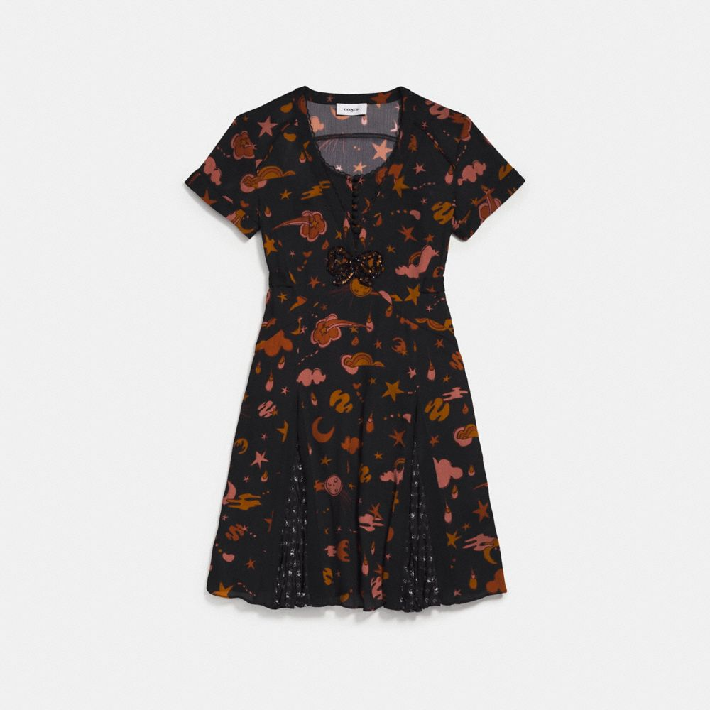 Coach Outerspace Print Pleated Dress - Women'S, Black/Brown