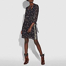 COACH 26377 - PENGUIN PRINT TIE NECK DRESS BLACK