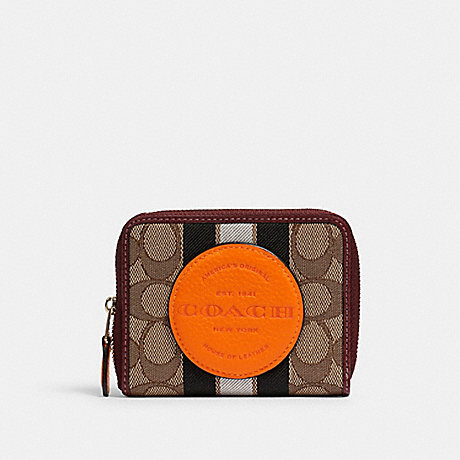 COACH 2637 DEMPSEY SMALL ZIP AROUND WALLET IN SIGNATURE JACQUARD WITH STRIPE AND COACH PATCH IM/KHAKI SUNBEAM MULTI