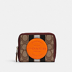 DEMPSEY SMALL ZIP AROUND WALLET IN SIGNATURE JACQUARD WITH STRIPE AND COACH PATCH - 2637 - IM/KHAKI SUNBEAM MULTI