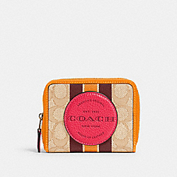 DEMPSEY SMALL ZIP AROUND WALLET IN SIGNATURE JACQUARD WITH STRIPE AND COACH PATCH - 2637 - IM/LT KHAKI ELECTRIC PINK