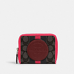 COACH 2637 - DEMPSEY SMALL ZIP AROUND WALLET IN SIGNATURE JACQUARD WITH STRIPE AND COACH PATCH IM/BLACK WINE MULTI