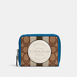 COACH 2637 - DEMPSEY SMALL ZIP AROUND WALLET IN SIGNATURE JACQUARD WITH STRIPE AND COACH PATCH SV/KHAKI CLK PALE GREEN MULTI
