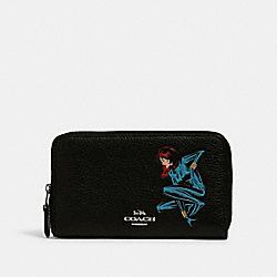 COACH 2646 Coach │ Marvel Medium Zip Around Wallet With Black Widow SV/BLACK MULTI