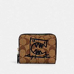 COACH 2652 - SMALL ZIP AROUND WALLET IN SIGNATURE CANVAS WITH REXY BY GUANG YU IM/KHAKI MULTI