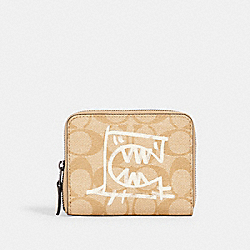 COACH 2652 - SMALL ZIP AROUND WALLET IN SIGNATURE CANVAS WITH REXY BY GUANG YU QB/LIGHT KHAKI/CHALK MULTI