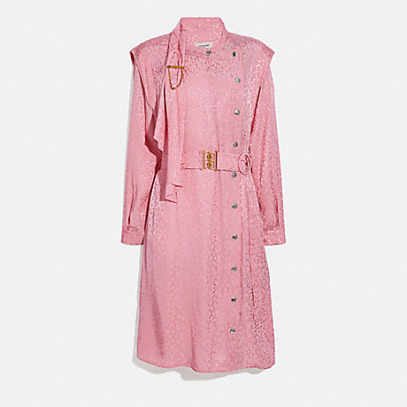 COACH 2669 ABSTRACT JACQUARD DRAPE BELTED DRESS PINK