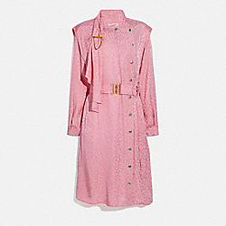 COACH 2669 - ABSTRACT JACQUARD DRAPE BELTED DRESS PINK