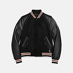 COACH 26705 Embellished Varsity Jacket BLACK