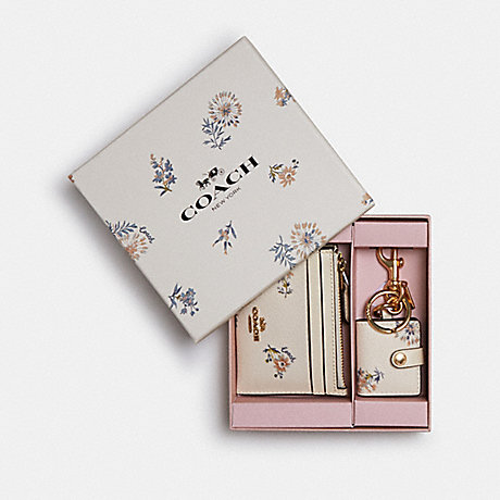 COACH BOXED MINI SKINNY ID CASE AND PICTURE FRAME BAG CHARM SET WITH DANDELION FLORAL PRINT - IM/CHALK/ BLUE MULTI - 2670