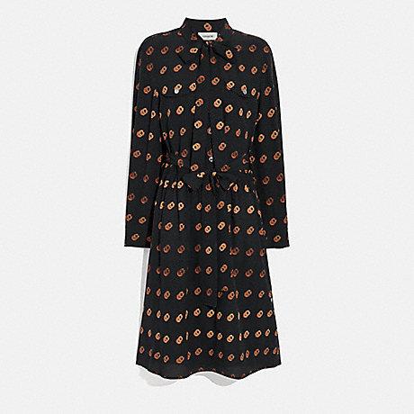 COACH 2676 PRINT TIE NECK DRESS BLACK/ORANGE