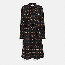 COACH 2676 - PRINT TIE NECK DRESS BLACK/ORANGE