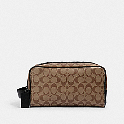 COACH 2706 - LARGE TRAVEL KIT IN SIGNATURE CANVAS QB/TAN BLACK