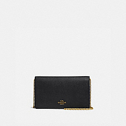 CALLIE FOLDOVER CHAIN CLUTCH - OL/BLACK - COACH 27084