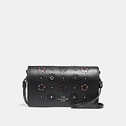 COACH 27087 Foldover Crossbody Clutch With Cut Out Tea Rose BLACK/DARK GUNMETAL