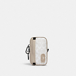 COACH 2708 North/south Hybrid Pouch In Colorblock Signature Canvas With Coach Patch QB/CHALK STEAM