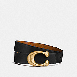 COACH 27099 - SCULPTED SIGNATURE REVERSIBLE BELT BLACK/1941 SADDLE
