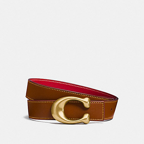 COACH 27099P SCULPTED SIGNATURE REVERSIBLE BELT 1941 SADDLE/1941 RED