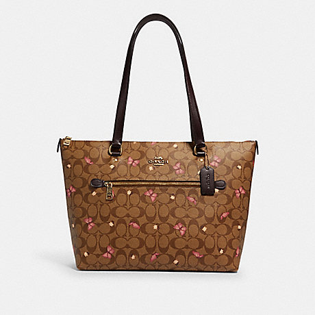 COACH 2712 GALLERY TOTE IN SIGNATURE CANVAS WITH BUTTERFLY PRINT IM/KHAKI-PINK-MULTI