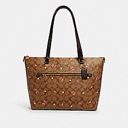 COACH 2712 Gallery Tote In Signature Canvas With Butterfly Print IM/KHAKI PINK MULTI