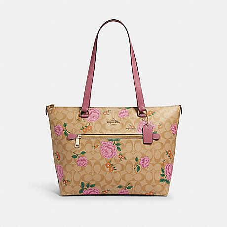 COACH 2714 GALLERY TOTE IN SIGNATURE CANVAS WITH PRAIRIE ROSE PRINT IM/LIGHT-KHAKI-PINK-PINK-MULTI