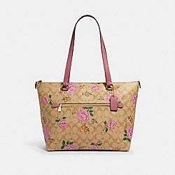 GALLERY TOTE IN SIGNATURE CANVAS WITH PRAIRIE ROSE PRINT - 2714 - IM/LIGHT KHAKI PINK PINK MULTI