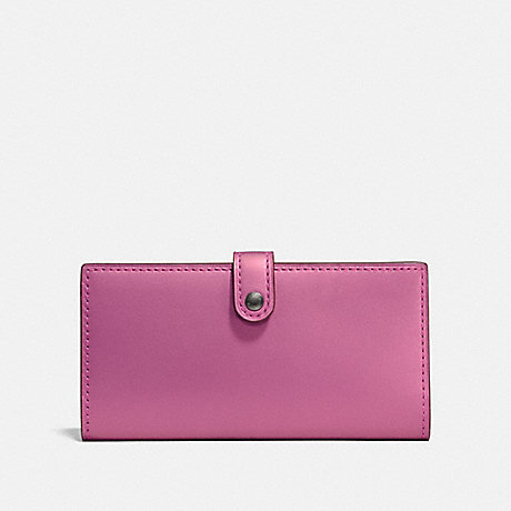 COACH 27250 SLIM TRIFOLD WALLET WITH FLORAL BOW PRINT INTERIOR METALLIC ROSE BRIGHT PINK/BLACK COPPER