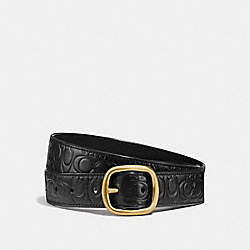 COACH 27293 Harness Buckle Reversible Belt, 32mm BLACK/BLACK BRASS