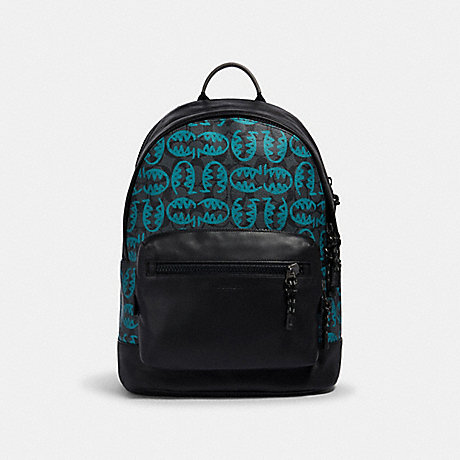 COACH 2743 WEST BACKPACK IN SIGNATURE CANVAS WITH REXY BY GUANG YU QB/GRAPHITE BLUE GREEN