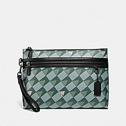 CARRYALL POUCH WITH CHECK GEO PRINT - 2747 - QB/TEAL