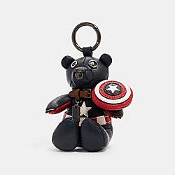 COACH 2752 Coach │ Marvel Captain America Collectible Bear Bag Charm SV/MIDNIGHT NAVY/RED