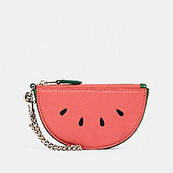 COACH 2761 - WATERMELON SLICE POUCH BAG CHARM SV/PINK LEMONADE