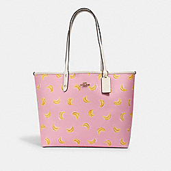 REVERSIBLE CITY TOTE WITH BANANA PRINT - 2781 - IM/PINK LEMONADE MULTI/WINE