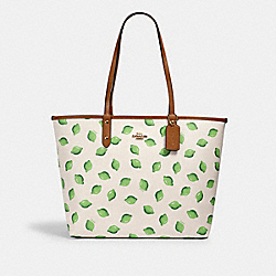 REVERSIBLE CITY TOTE WITH LIME PRINT - 2782 - IM/CHALK GREEN MULTI/LT SADDLE