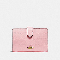 COACH 27968 Medium Corner Zip Wallet GD/BLOSSOM