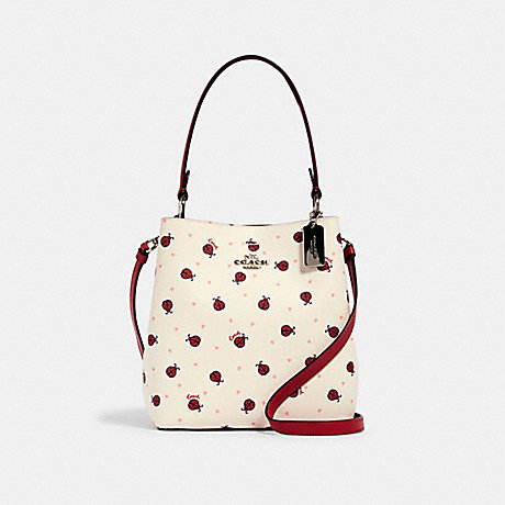 COACH SMALL TOWN BUCKET BAG WITH LADYBUG PRINT - SV/CHALK/ RED MULTI - 2801