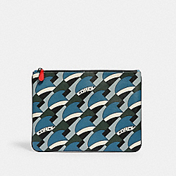 LARGE POUCH WITH DECO BRIDGE GEO PRINT - 2809 - QB/BLUE JAY MULTI